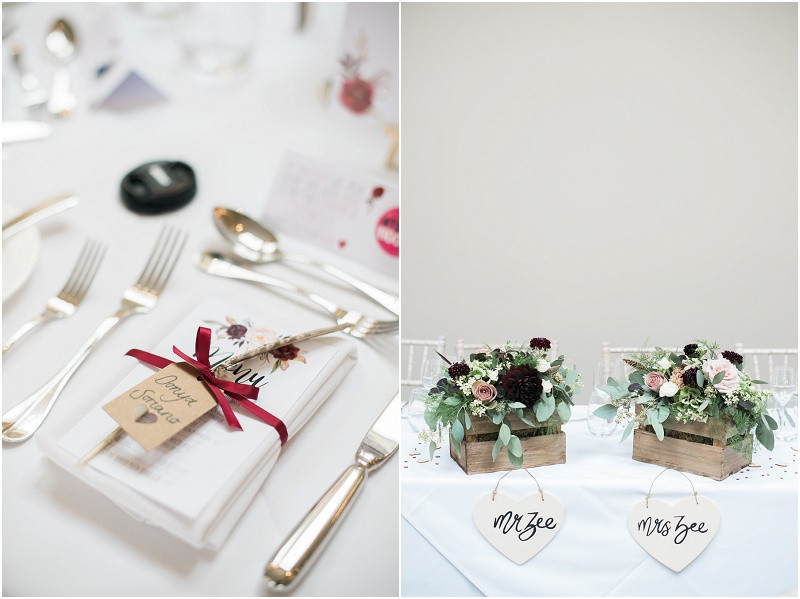 Calligraphy wedding stationary and flowers by Jennry Fleur at Blackwell Grange Cotswolds wedding venue by Cotswolds wedding photographer