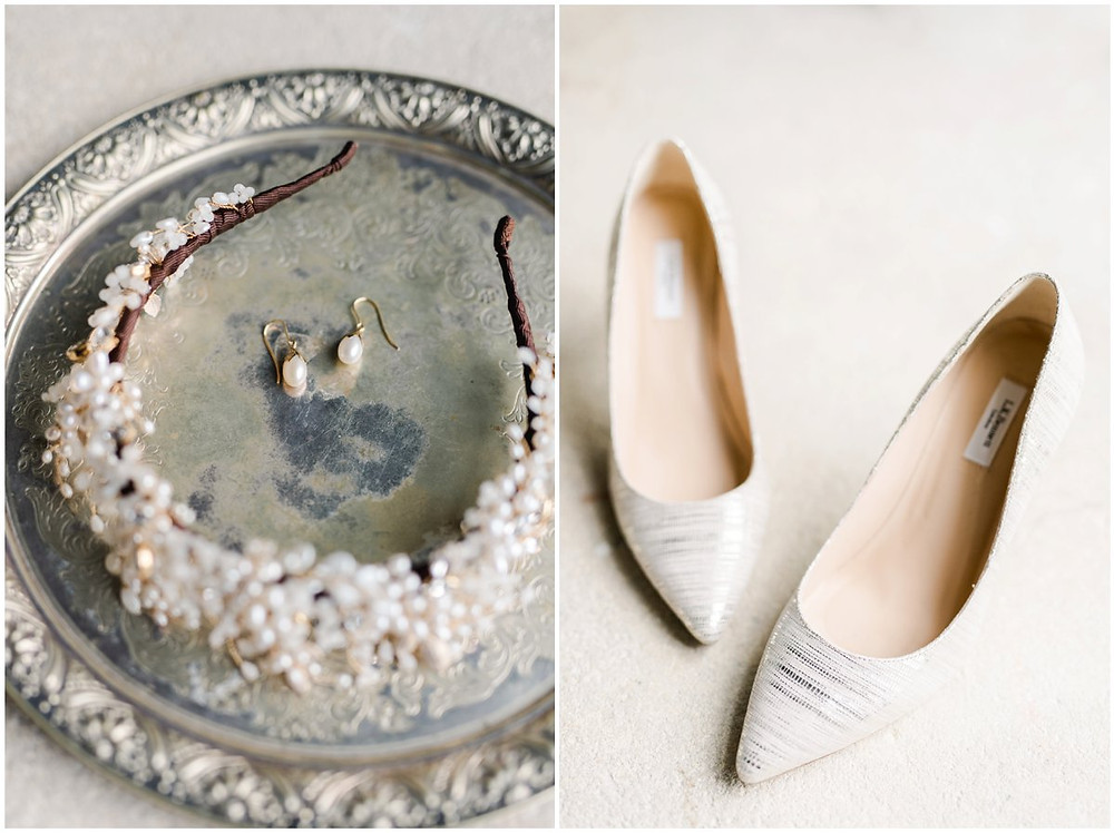 LK Bennet Bride shoes and pearl earrings for a North Cadbury Court Somerset wedding