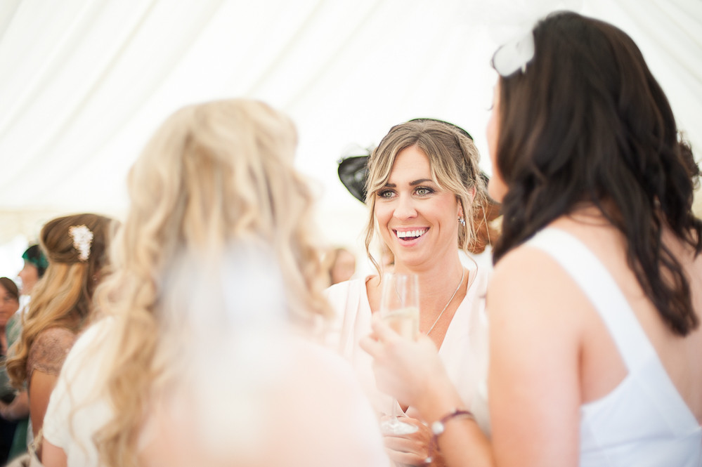 wedding guest laughing, The Outbuildings, Anglesey