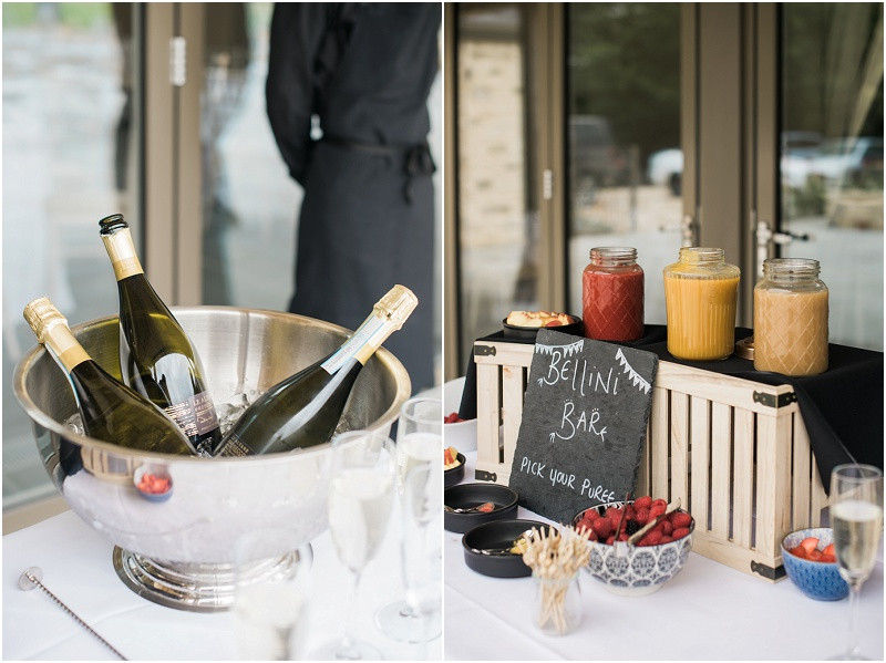 bellini bar and prosecoo at Blackwell Grange Cotswolds wedding venue by Cotswolds wedding photographer