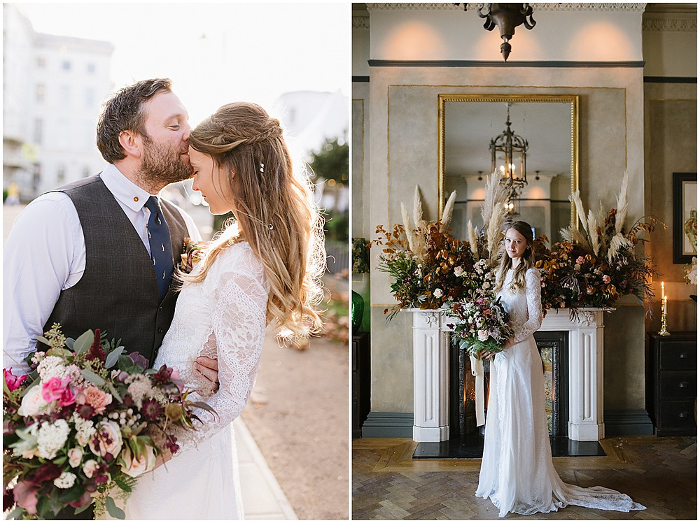 An intimate wedding at luxury wedding venue No131 Cheltenham with a Grace loves Grace dress and pampas grass florals