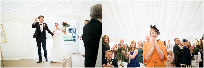 Bride and groom at boho Autumn marquee wedding at HIlles House Cotswolds