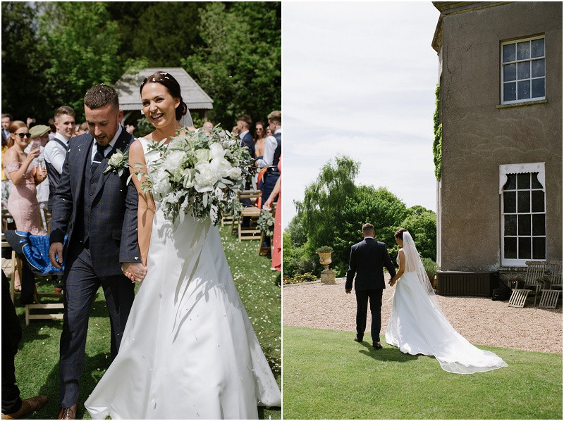 An elegant summer wedding at Pennard house in Somerset bride and groom outside ceremony