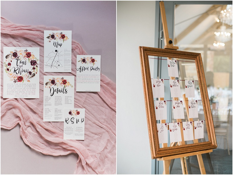 Calligraphy wedding stationary at Blackwell Grange Cotswolds wedding venue