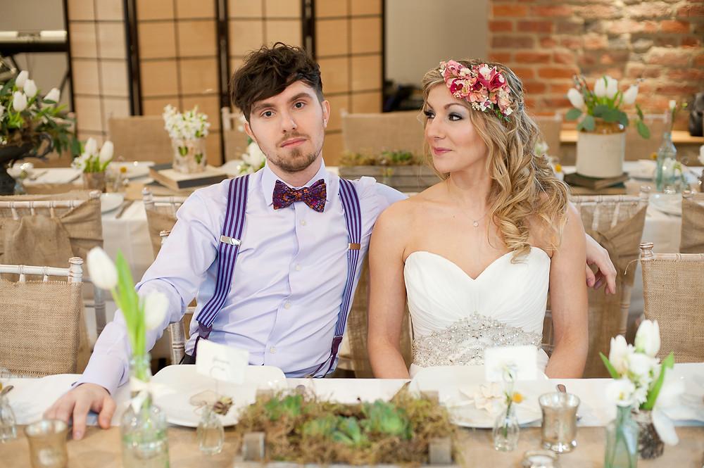 rustic wedding bride and groom flower crown