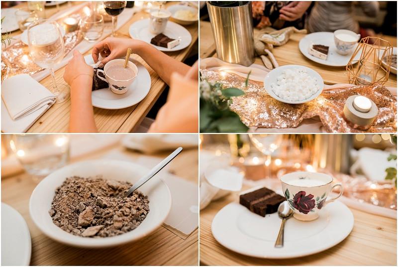 Winter wedding Cotswolds wedding photographer hot chocolate dessert