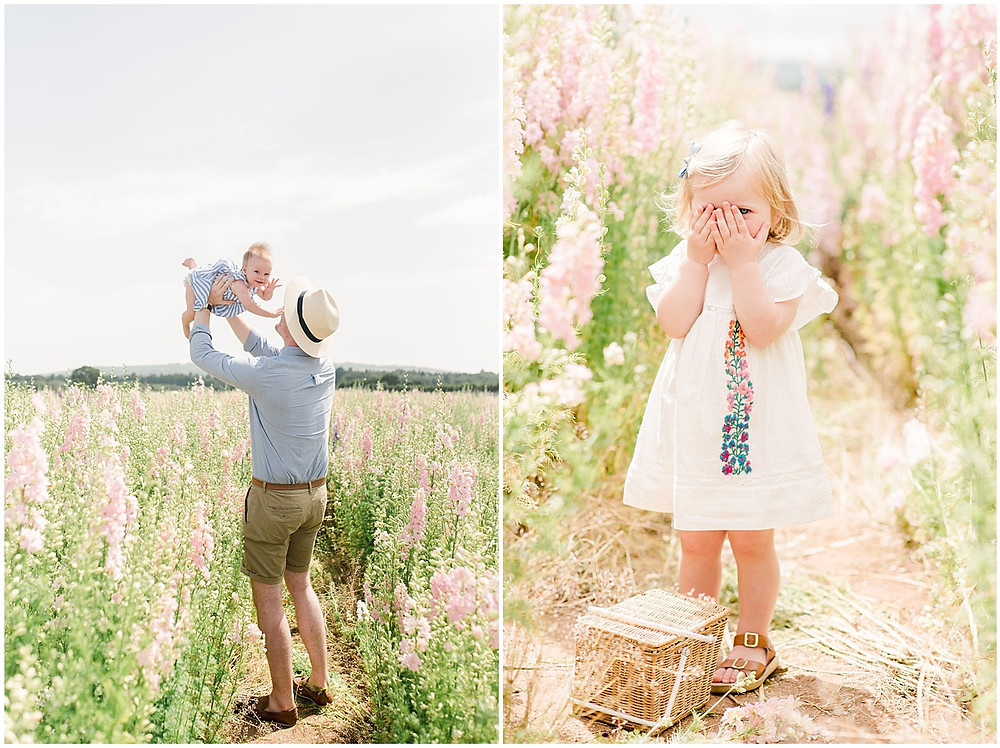 Confetti fields photo shoot with young children playing amongst the flowers