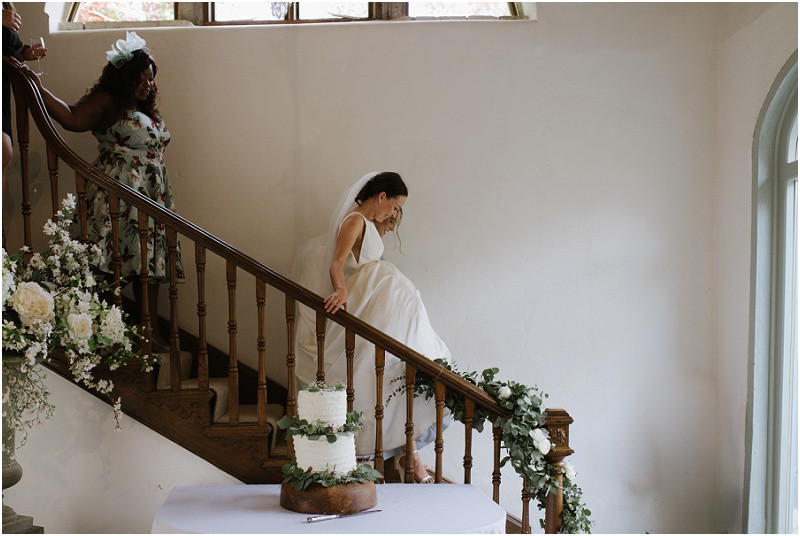 An elegant summer wedding at Pennard house in Somerset bride in Mikaella wedding dress