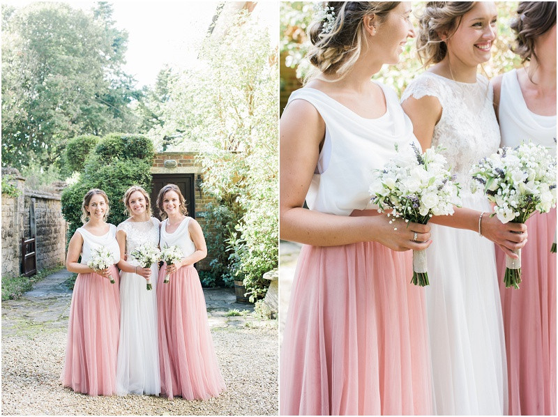 Cotswolds marquee wedding Oxford bridesmaids in boho two piece