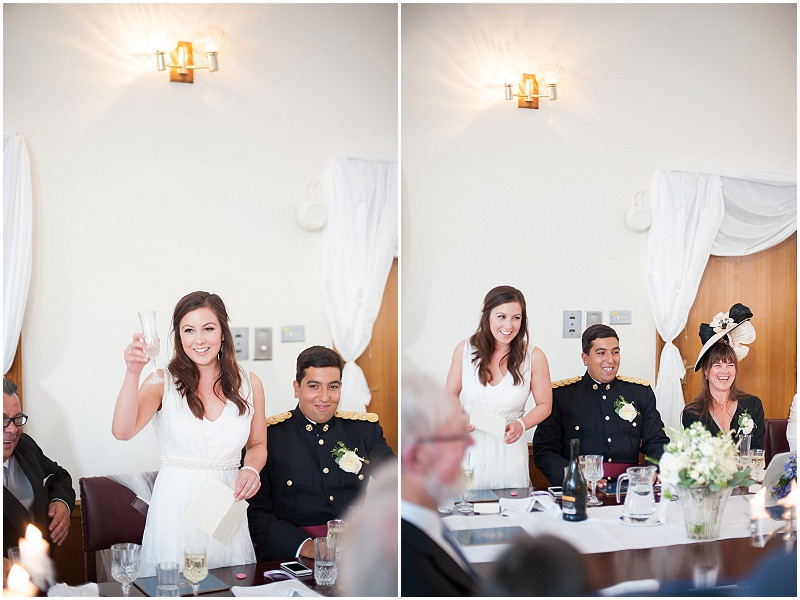 Wedding speeches at A military wedding at Malmesbury Abbey with a Charlie Brear dress and flower crowns