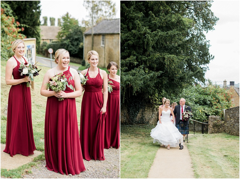 Bridesmaids in red and bride in Essense of Australia dress at Cotswolds church wedding