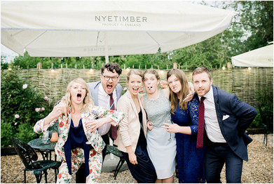 Wedding guests at Cotswolds marquee wedding venue The Perch Inn Oxford