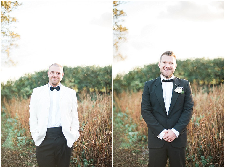 Black and white tuxedo's for a white and gold wedding at The Outbuildings, Anglesey
