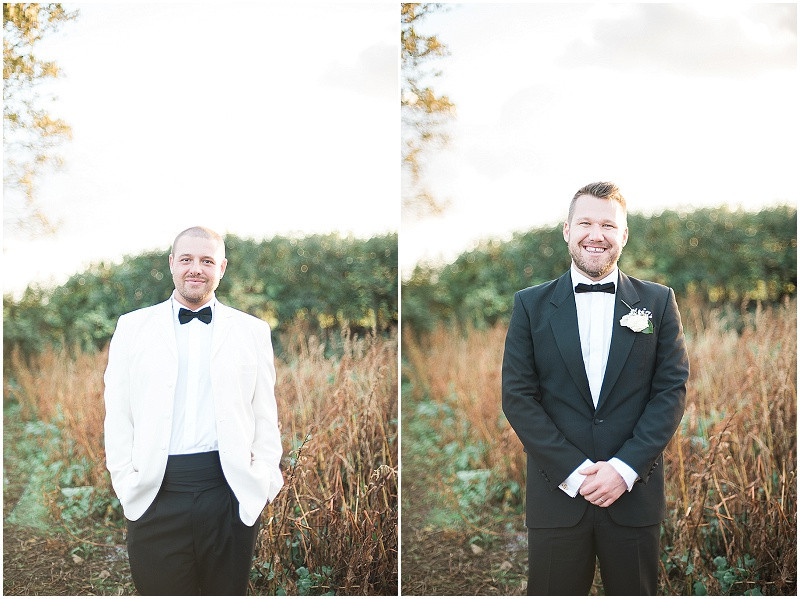 white and black tuxedo for a gay wedding, The Outbuildings, Anglesey