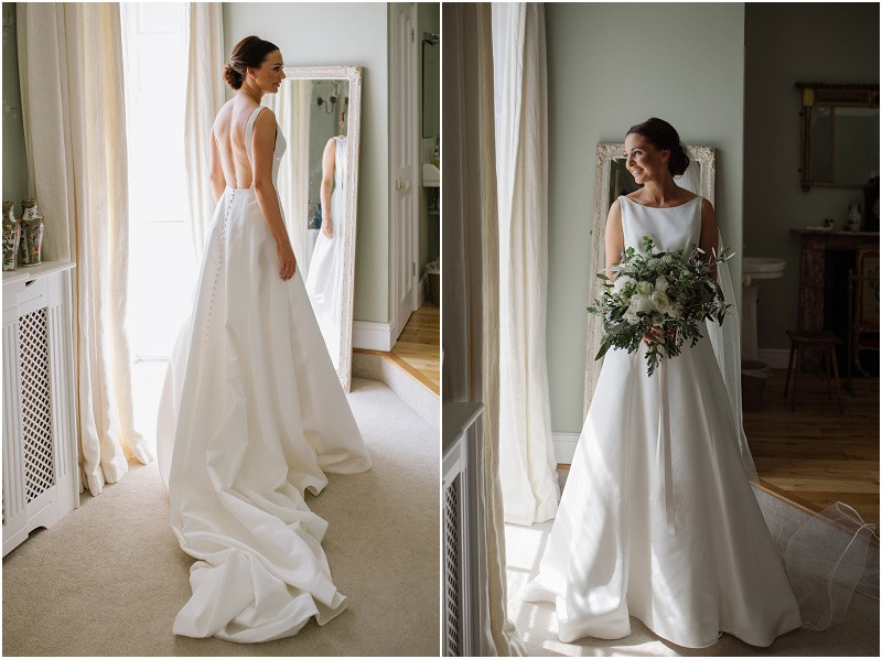 An elegant summer wedding at Pennard house in Somerset with a mikaella wedding dress