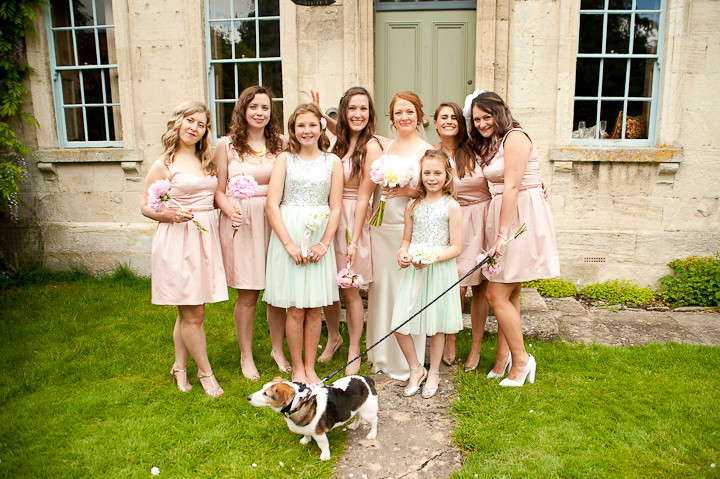 bridesmaids in pink and green
