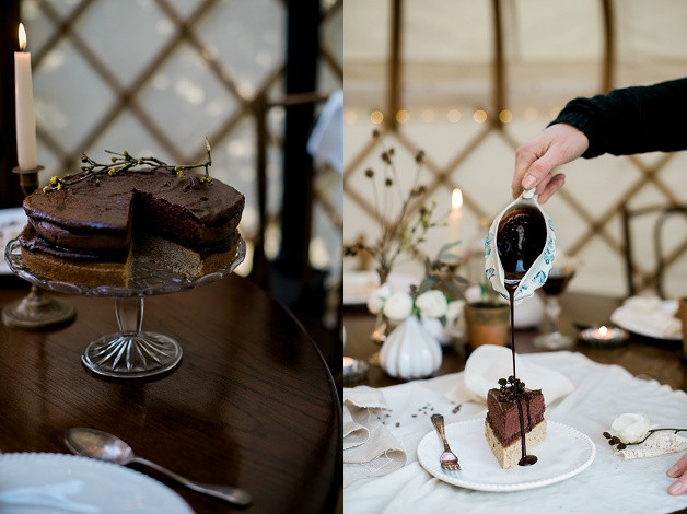 boho wedding styling for an outdoor Cotswolds wedding featuring gluten free chocolate cake