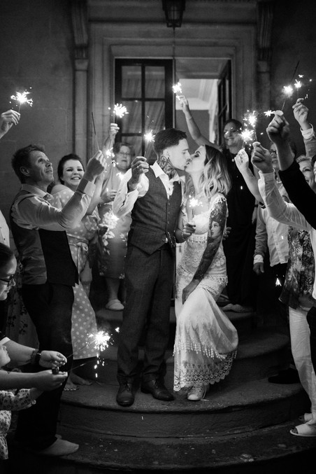 Sparkler exit at Cotswolds wedding