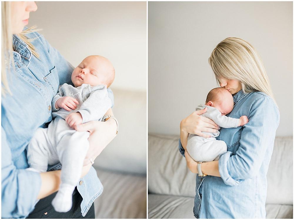Cheltenham newborn photographer mother and baby at home