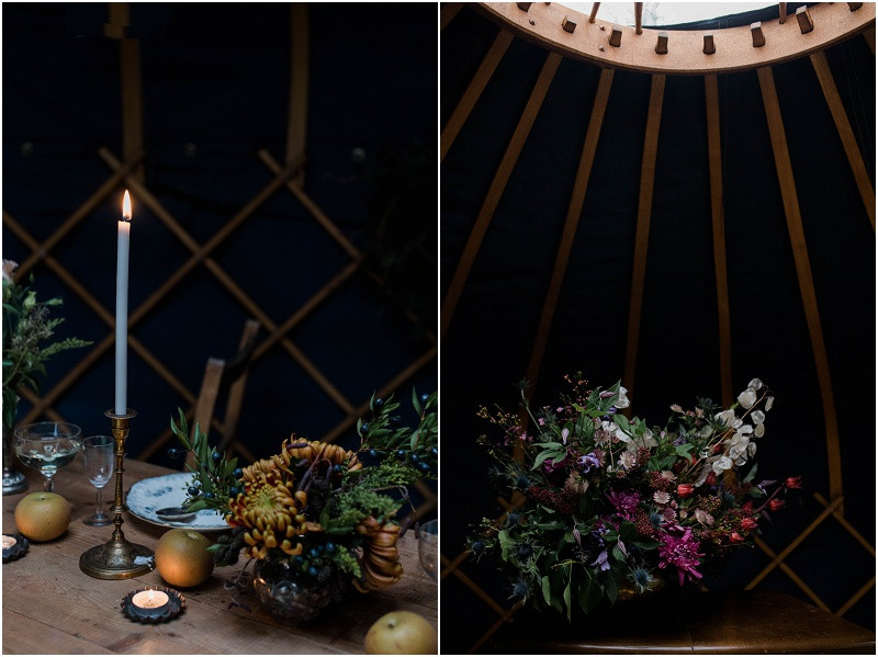 Winter Cotswolds winter wedding styling with wedding yurts with winter floral artistry