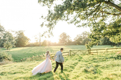 Bride and groom at sunset at Pennard House wedding venue
