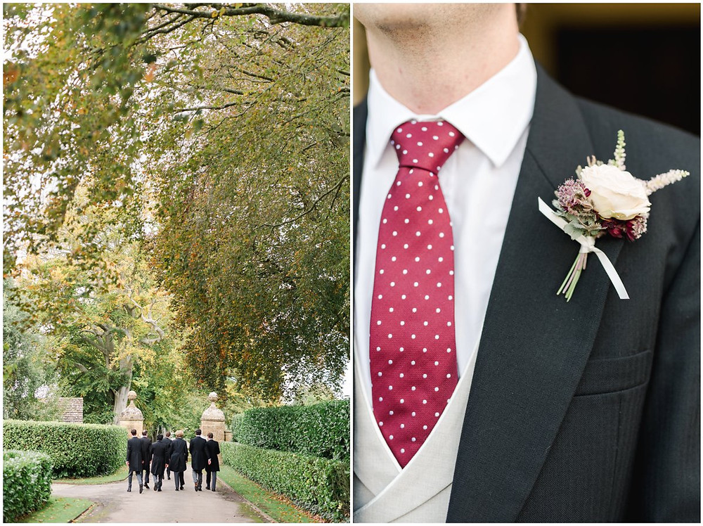 Groom and ushers at elegant North Cadbury Court Wedding