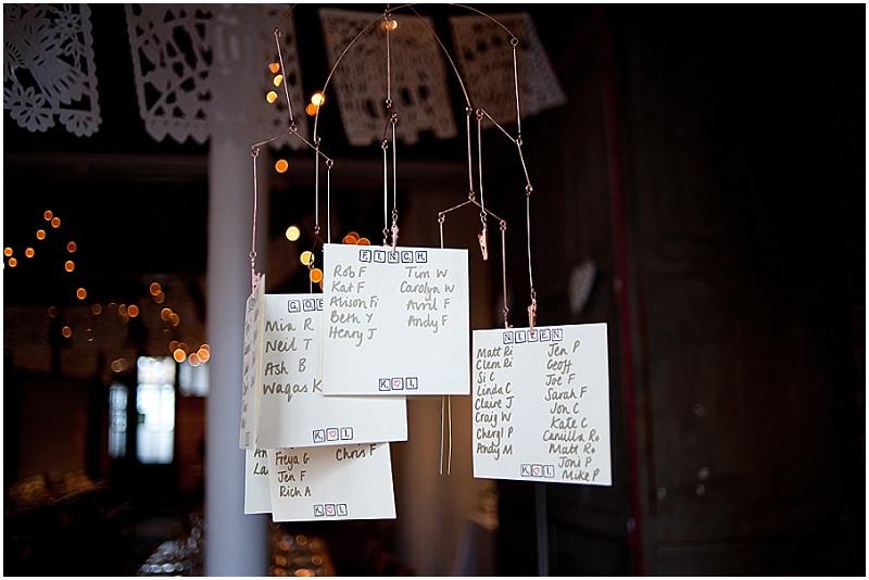 hanging table plan at Brixton East wedding venue London