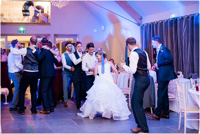 Guests dancing on dancefloor at Blackwell grange by Gloucestershire wedding photographer