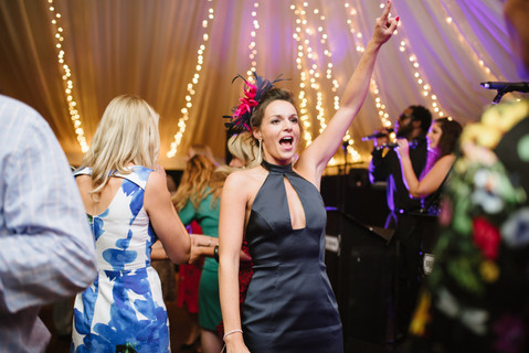 Guests dancing at Cotswolds marquee weddin