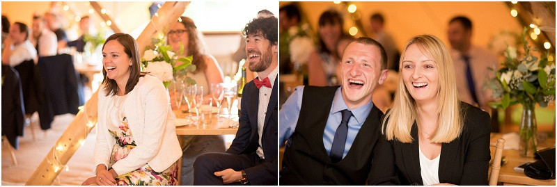 Boho tipi wedding Peak tipis Nottinghamshire guests laughing at speeches