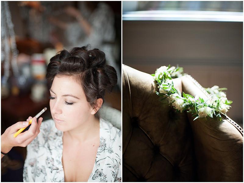 boho bride getting make up done wedding flower crown