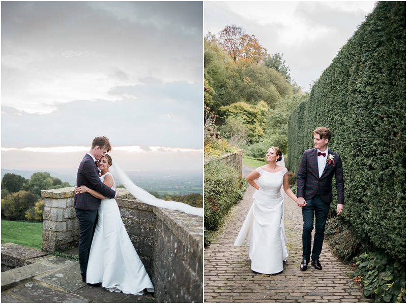 Bride and groom at boho Autumn wedding at HIlles House Cotswolds
