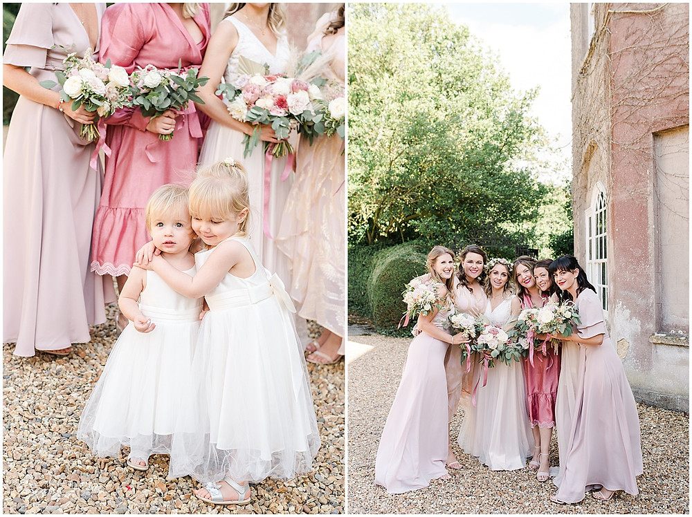 Get bridesmaid dress inspiration in this boho luxe wedding from Pennard House wedding photographer with mismatched bridesmaid dresses in pink silk and flower crowns