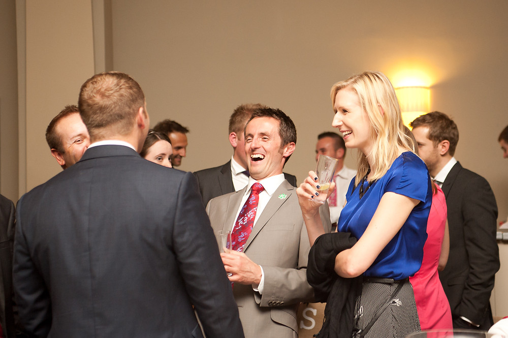 stubton hall wedding reception meal guests laughing