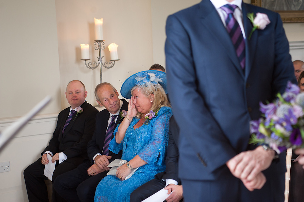 stubton hall mother of the groom crying during ceremony