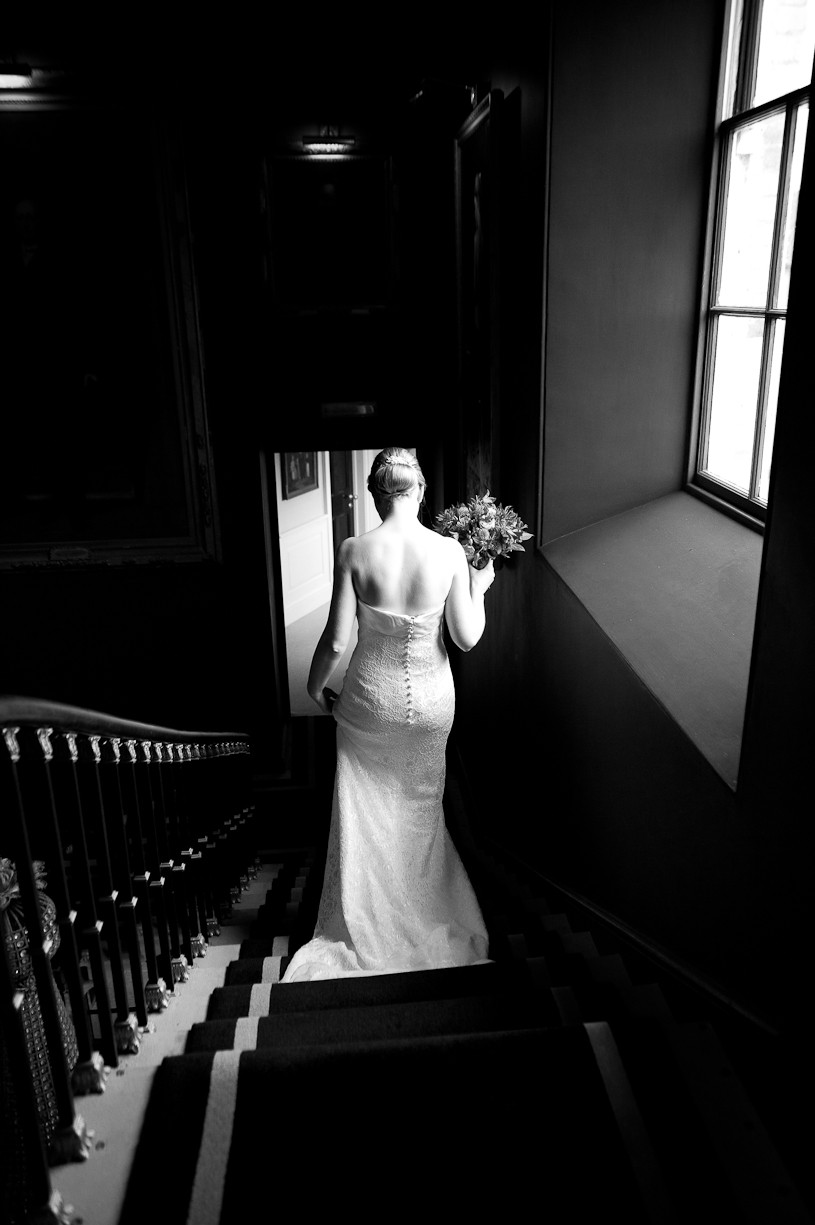 stubton hall wedding bride on stairs