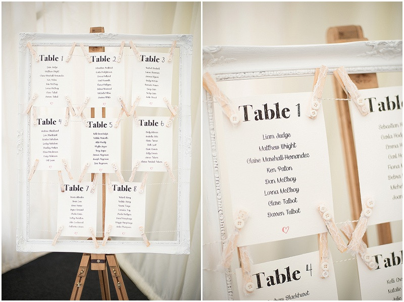 vintage frame wedding table plan, The Outbuildings, Anglesey