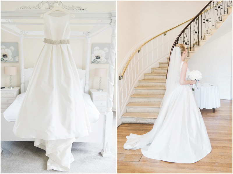 A caroline Castigliano wedding dress for a Cotswolds wedding at Eastington park with white hydrangeas