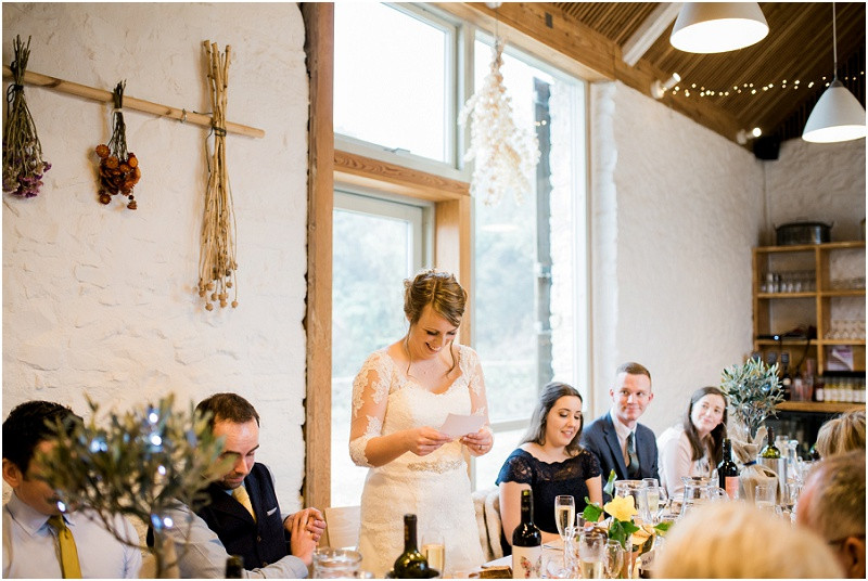 Bride gives a speech at River Cottage wedding