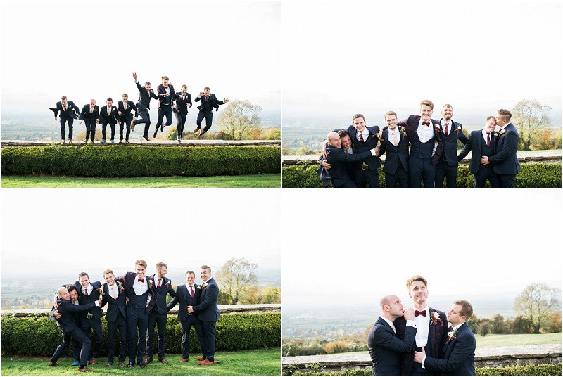 grooms in Checked suit and red bowtie at Hilles House Cotswolds marquee wedding venue