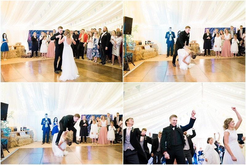 Cotswolds marquee wedding Oxford bride and groom first dance
