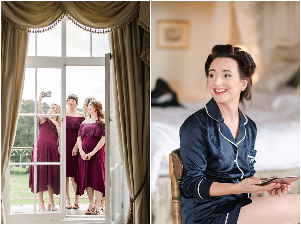Monogrammed silk pyjamas for bride as she gets ready at North Cadbury Court Somerset Wedding Venue