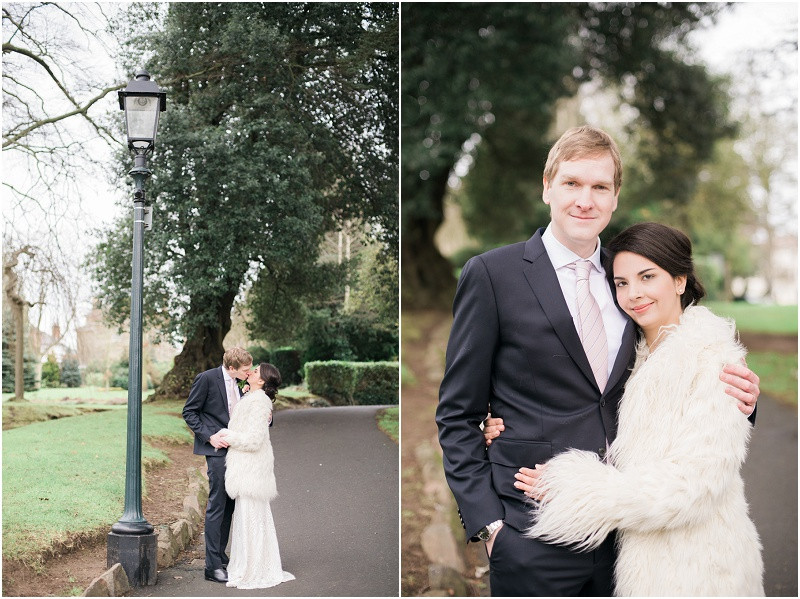 Bride and Groom at winter wedding at Malvern Registry Office