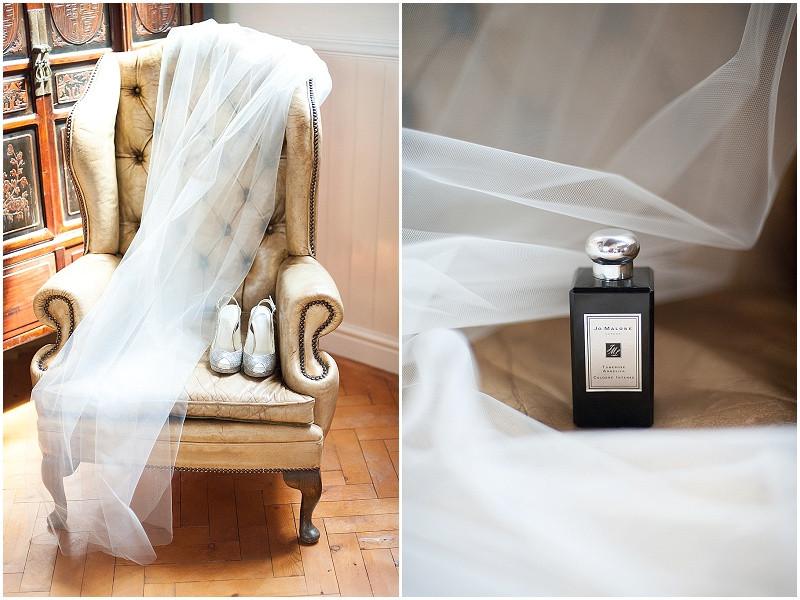 Jo malone perfume and a wedding veil for a boho military wedding in Malmesbury