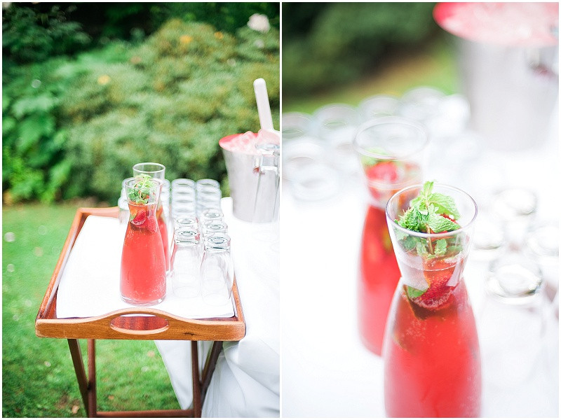Fruit drinks for an elegant wedding at The Royal Crescent Bath