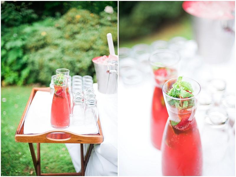 Fruit drinks for an elegant wedding at The Royal Crescent Bath