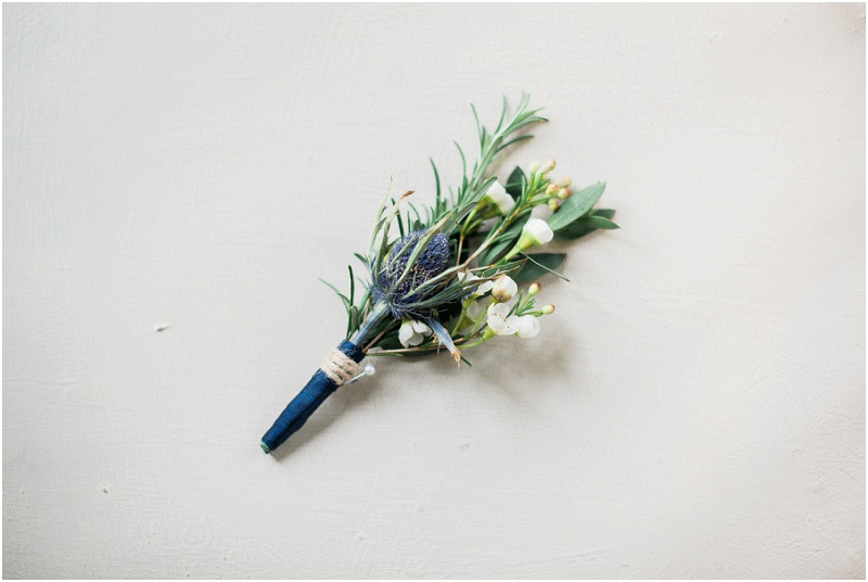 Heather buttonholes for River Cottage Wedding