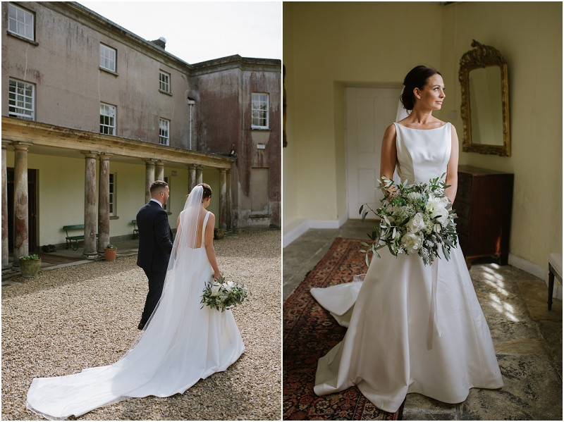 An elegant summer wedding at Pennard house in Somerset bride and groom in Mikaella wedding dress