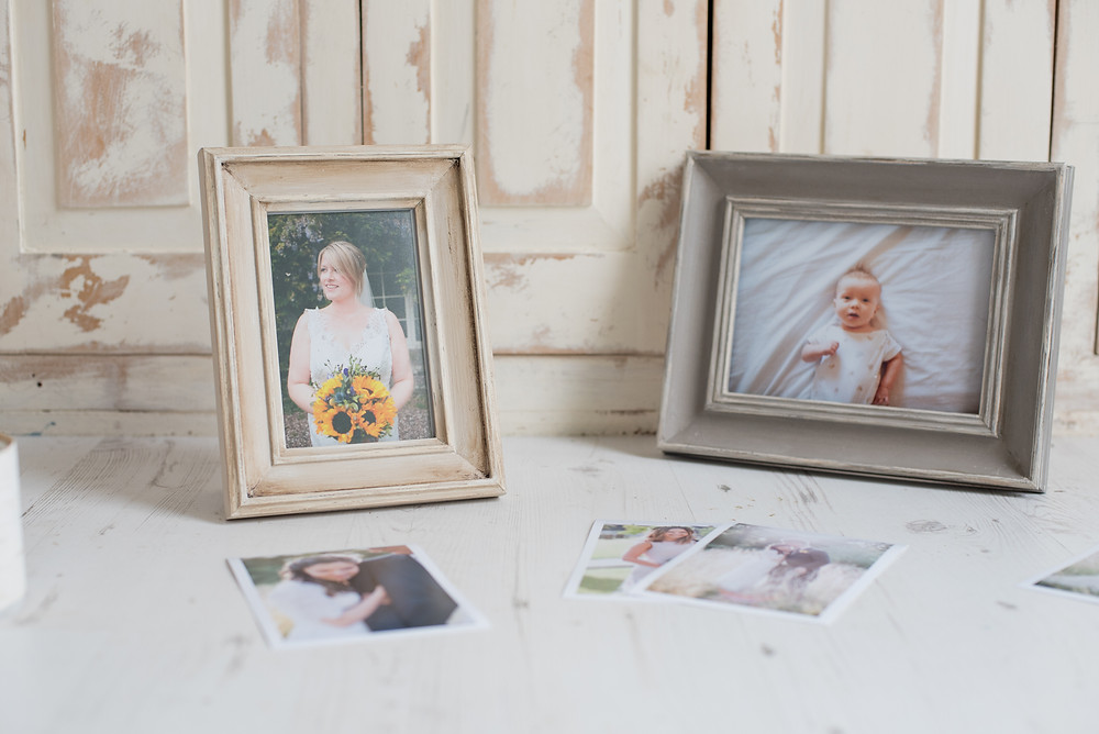 Loxley colour photography prints of wedding photos in vintage, mismatched frames