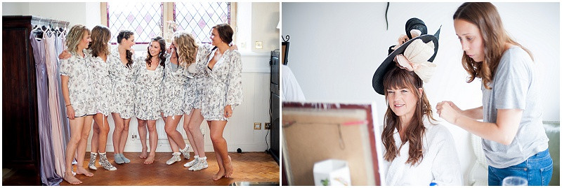 Bridesmaids in matching dressing gowns and mother of the bride in a bespoke designer hat